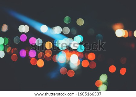 Blurred images of the background party in the festive festivities during the night, consisting of people and glittering bokeh. #1605166537
