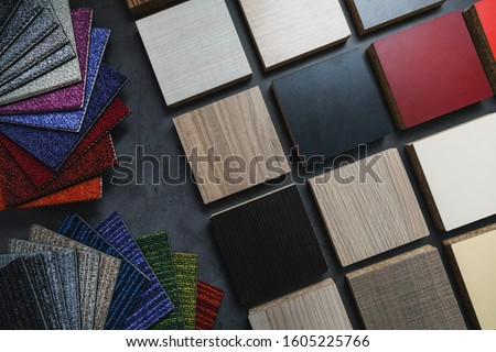 flooring and laminate furniture material samples for interior design project Royalty-Free Stock Photo #1605225766