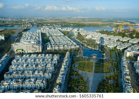 The scenery of adjacent villas is viewed from above in Hai Phong City - Vietnam. Date 22/11/2019. #1605335761