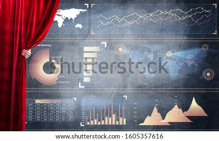 Hand opening red curtain and drawing business graphs and diagrams behind it #1605357616