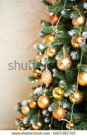 Christmas mood, Christmas tree, merry holidays. Christmas gift box, Blurred background, bokeh.                                   #1605385765
