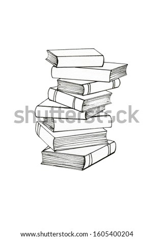 Graphic illustration of a stack of books. Black outline, graphics. Books on study, education, business. Learning, mind, development. Reading. Symbol. Template for design.
