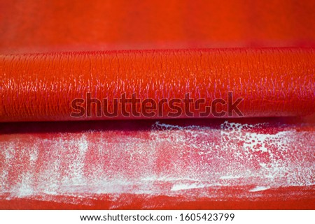 White paint brush strokes, at the top is a blood vessel, on red background,  may use as abstract background, for poster, postcard, banner. Healthy human anatomical vessels model.  Medical illustration #1605423799