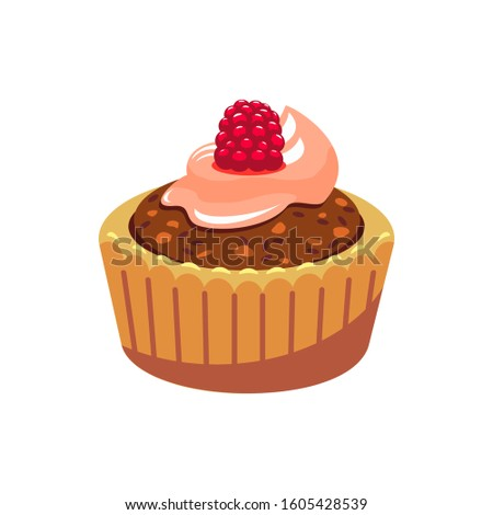 Sweet bakery food isolated muffin with chocolate cream and raspberry topping. Vector confectionery dessert #1605428539