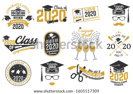 Set of Vector Class of 2020 badges. Concept for shirt, print, seal, overlay or stamp, greeting, invitation card. Typography design- stock vector. #1605517309