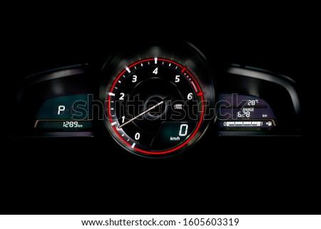 Car dashboard modern automobile control. #1605603319