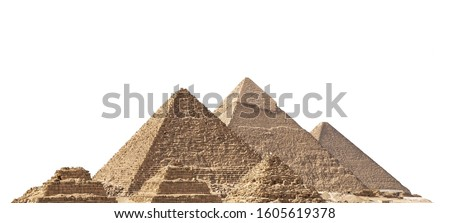 The Giza pyramid complex, also called the Giza Necropolis, isolated on white background. Greater Cairo, Egypt.