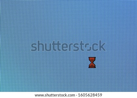 Pixel cursors icons:  busy cursor on blue screen. #1605628459