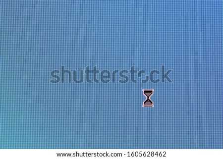 Pixel cursors icons:  busy cursor on blue screen. #1605628462