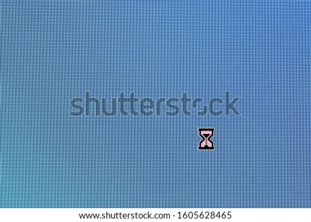Pixel cursors icons:  busy cursor on blue screen. #1605628465