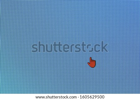 Pixel cursors icons: red Hand or Aero Link cursor on blue screen #1605629500