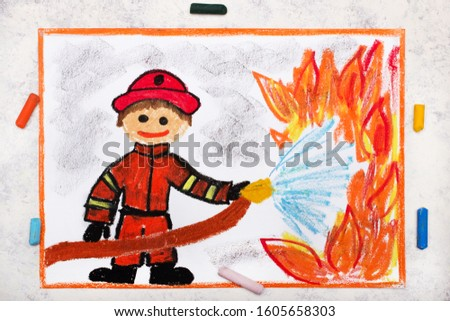 Photo of colorful drawing: Smiling Fireman using water to fighting with fire. Firefighter in action