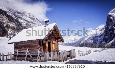 old chapel at the karwendel mountains in austria - eng alm