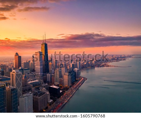 Aerial view of Chicago from lake Michigan