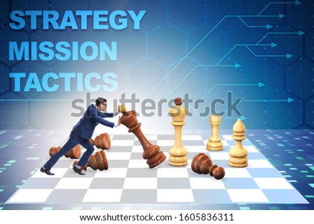 Strategy and tactics concept with businessman #1605836311