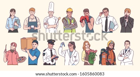 Collection of characters from various professions. hand drawn style vector design illustrations.  Royalty-Free Stock Photo #1605860083