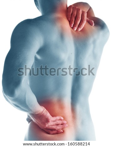 naked young man with pain in a waist. concept photo. #160588214