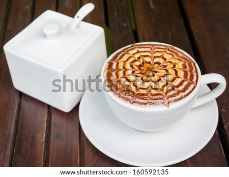 Coffee Latte over on wooden background #160592135