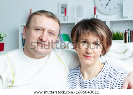 Portrait of a middle-aged man and woman. Married couple. Married couple. #1606043011