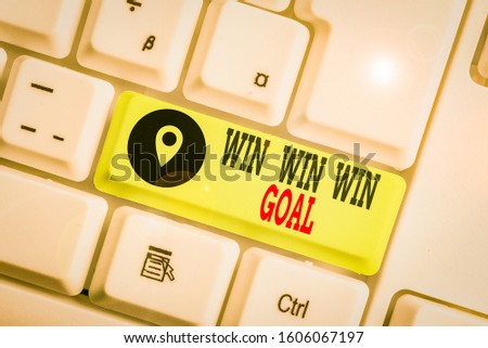 Conceptual hand writing showing Win Win Win Goal. Business photo text Approach that aims to satisfy all parties involved. #1606067197