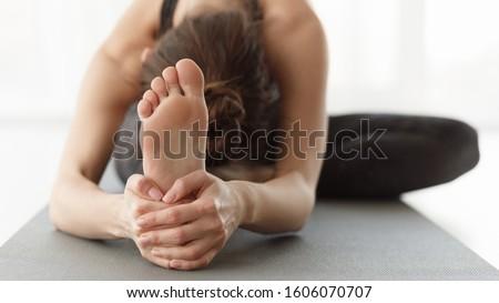 Flexible body concept. Girl stretching during yoga practice, closeup, panorama #1606070707