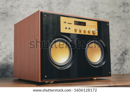 Power Amplifier Sub-woofer Speaker System with Bluetooth on concrete wall background. #1606128172