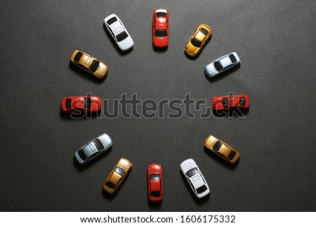 Parked cars on a circle shape on top view.