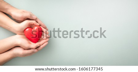 An adult, mother and child hold a red heart in their hands. Concept for charity, health insurance, love, international cardiology day. #1606177345