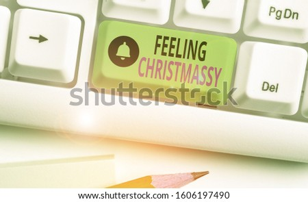 Text sign showing Feeling Christmassy. Conceptual photo Resembling or having feelings of Christmas festivity. #1606197490
