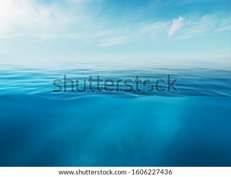 Blue sea or ocean water surface and underwater with sunny and cloudy sky Royalty-Free Stock Photo #1606227436