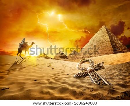 Thunder and lightning in the desert of Egypt #1606249003