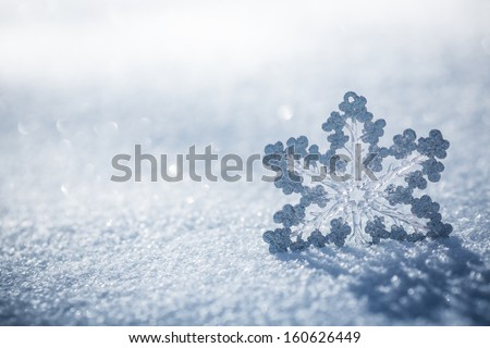 Silver Christmas decoration. Beautiful snowflake on real snow outdoors. Winter holidays concept Royalty-Free Stock Photo #160626449