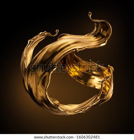 3d rendering, shiny gold liquid splash, metallic wave, swirl, cosmetic oil, golden splashing clip art, artistic paint, abstract design element isolated on black background. Luxury beauty concept