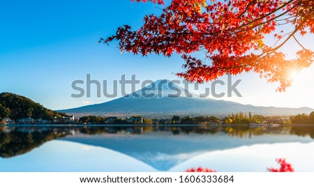 Colorful autumn season and Mountain Fuji with red leaves at lake Kawaguchiko in Japan #1606333684
