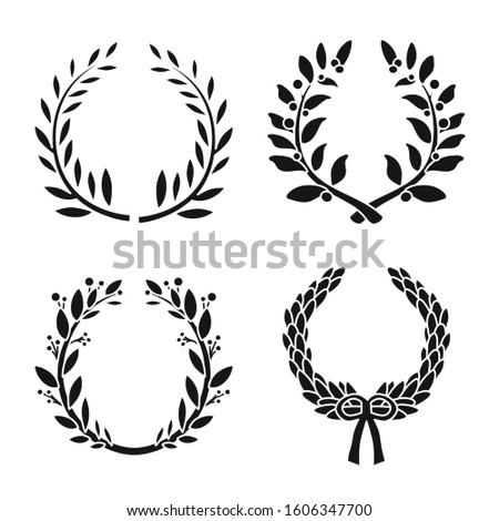 Wreath of bay leaf vector black icon set.Vector isolated illustration award of bay leaf.Icon set of wreath victory. Royalty-Free Stock Photo #1606347700