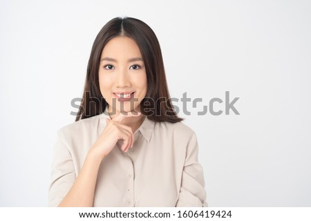 Attractive Asian woman portrait  on white background  #1606419424