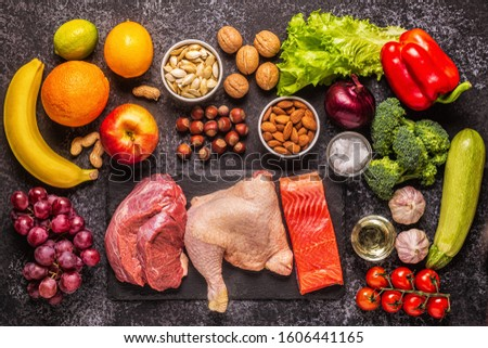 A set of products for paleo, pegan and a whole 30 diets, top view. #1606441165