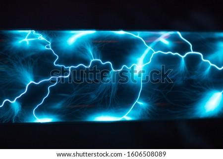 Inert gas plasma blue discharge lightning #1606508089