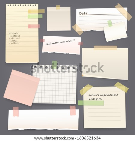 Paper sheets of notebook and note pad with torn edges stick on grey background with tape and paperclip. Vector pages with copy space for messages and notes, office and school stationery, memo stickers #1606521634