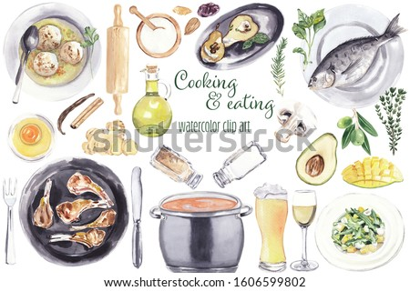 Watercolor food clip art Hand drawn hand painted food illustrations on white background: fish, soup, salad, beer, vine, avocado, mango, herbs, salt, pepper, egg, baking stuff, nuts, sugar, pears