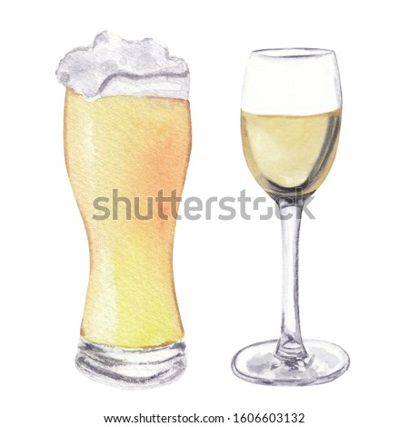Watercolor food clip art Hand drawn hand painted food illustration on white background: wine and beer Great for cook book