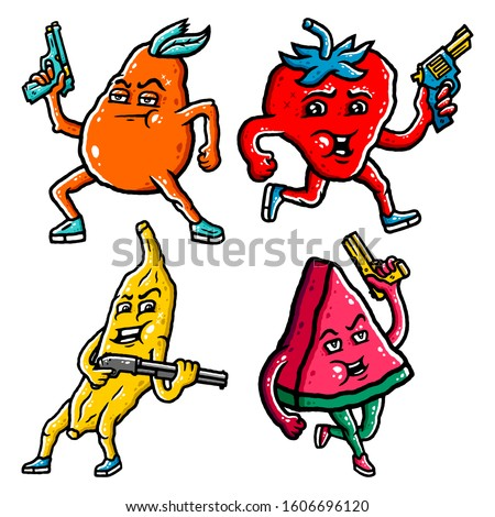 Fruit Set. Fruit With Guns Set. Banana, Watermelon, Pear, Strawberry with Pistols and Gun. Cartoon Fruit With Guns on white background isolated. Stock Vector Illustration. Cartoon style.