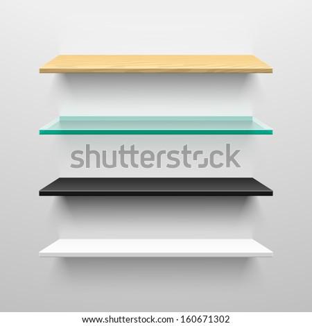 Wooden, glass, black and white shelves. Vector.