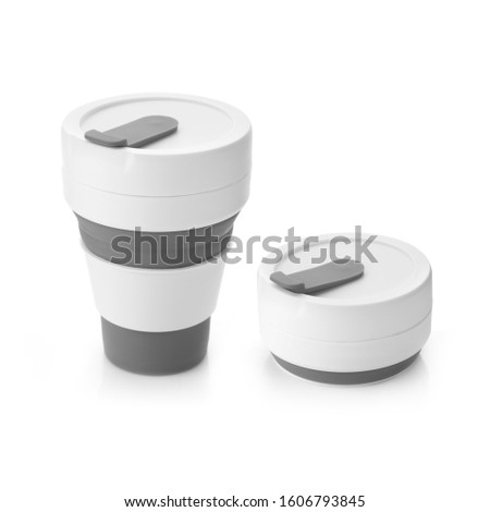 Grey Colour Trendy Silicon Collapsible Cup. Environmental Friendly Reusable Mug Isolated on White Background. For Hot and Cold Beverages. Design Template for Mockup, Branding, Advertise. Studio Shoot #1606793845