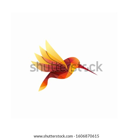 Modern Colorful Hummingbird Logo Vector Illustration #1606870615