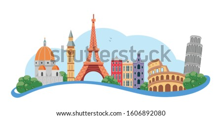 Welcome to Europe. Vector Illustration #1606892080