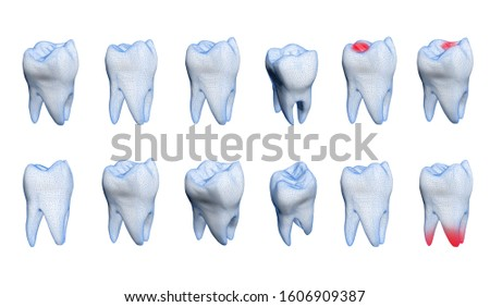 Human healthy and bad tooth  on a white background. 3d model. #1606909387