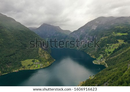 Scenic aerial view of Geiranger fjord during summertime, Norway. #1606916623