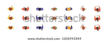 People models top view flat vector illustrations set. Animation poses, online game development, characters creation concept. Virtual men and women samples isolated on white background. Royalty-Free Stock Photo #1606941844