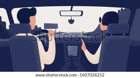 Pair of people sitting on front seats of car moving along highway. Automobile driver and passenger, back view. Road journey, ride, trip. Trendy colorful vector illustration in modern cartoon style. #1607026252